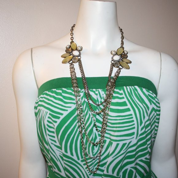 """Long bronze and rhinestone necklace 24"""""""